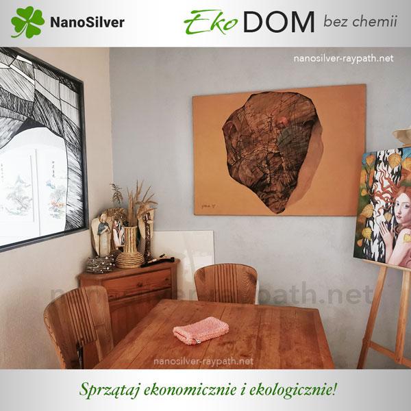 eko dom rękawica różowa nanosilver sprzątanie bez chemii
